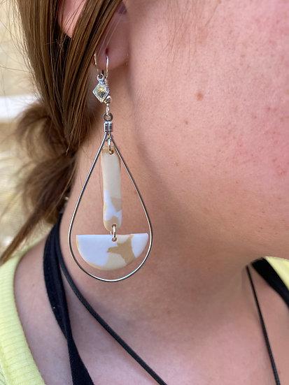 Sand Teardrop Clay Earring