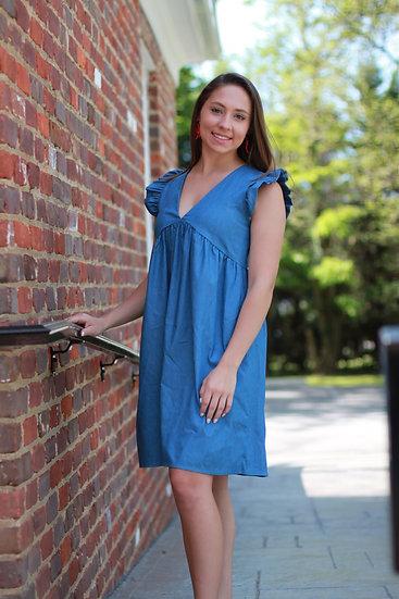 Chambray Ruffle Sleeve Dress