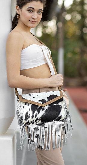 B/W Cowhide Fringe Myra Crossbody Bag