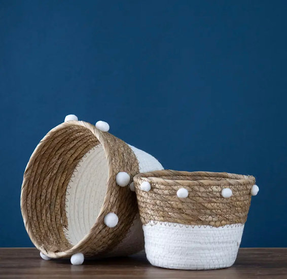 Set of 2 Pom Baskets