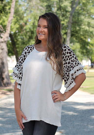 Linen Cheetah Layered Ruffle Sleeve Top