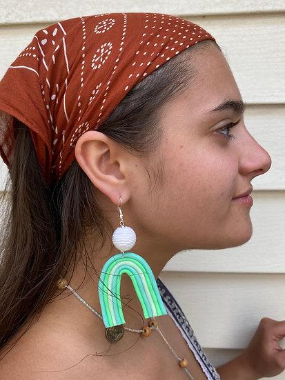 Green Rainbow Clay Earrings