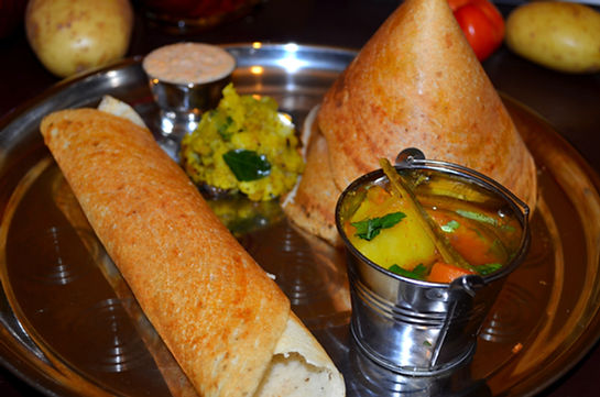 MASALA DOSA WITH SAMBAR AND COCONUT CUTN