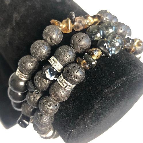 Obsidian & Smokey Quartz Bracelet Set