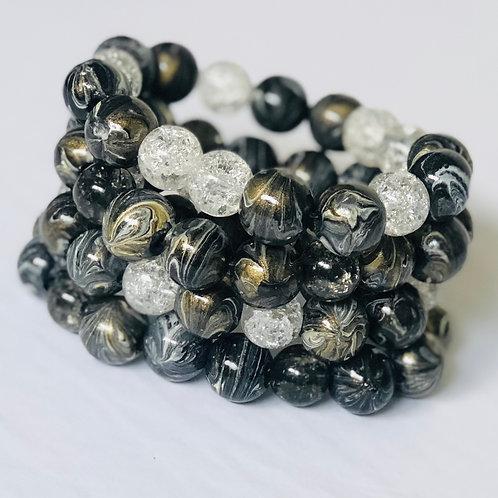 Black, Gold, & White Bracelet Set