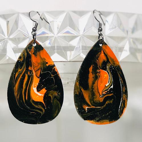 Black & Orange Teardrops