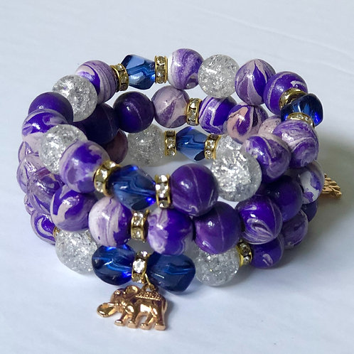 Hand Painted Purple Elephant Charm Bracelet Set