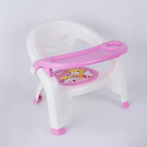 כיסא לילדים עם מגש אוכל בצבע ורוד