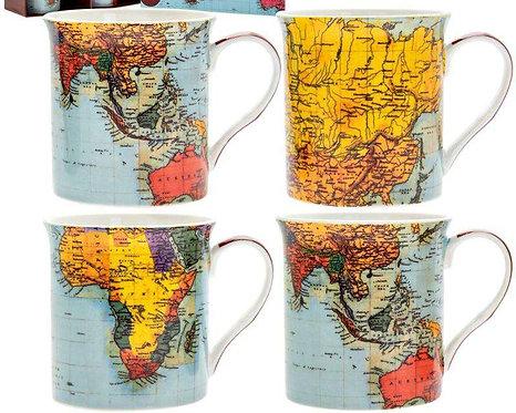 מארז רביעיית ספלי מפות וינטג' World Traveller