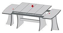 שולחן פתיחת אמצע רגליים מתפצלות