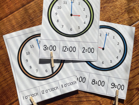 Telling Time Analog Clock Clip Cards