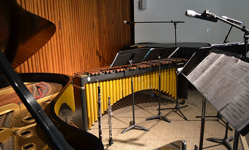 musical instruments in a recording studio