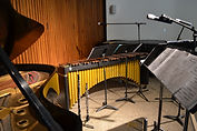instruments set up in the concert hall