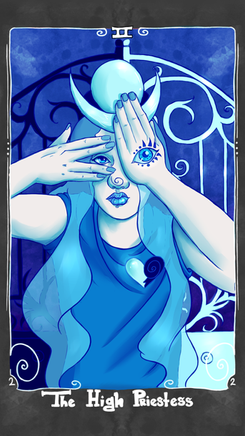 The High Priestess - A powerful woman with influence over you, making the impossible possible, the unconscious mind, hidden talent, knowing the answers, a path illuminated, quiet reflection, duality, taking time to think before making a choice  The High Priestess stands before the gate to the unknown and gazes into your mind. She is a woman of learning with a quiet power, like a calm lake with powerful currents underneath. She encourages you to look both out and within to find the answers that you seek and to consider the light and dark of all situations.