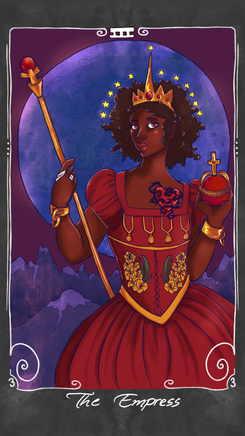"""The Empress - struggle for recognition, hard-won authority and power, overcoming discrimination and trials, feminine power  The Empress rules over her subjects with a firm, but cool authority.  She has had to fight hard to gain her position and the respect of her subjects, having broken free of the shackles of her traditional gender role.  She keeps her emotions and thoughts in check, constantly worried that the slightest show of weakness will be latched onto by her enemies, eager to find the chinks in her armor. She represents a stubborn refusal to give up against great opposition and someone who has seized their own power and taken control of their own destiny.   *Note: traditionally this card is about motherhood and fertility.  I have never felt that meaning is appropriate for an """"Empress"""" card, and therefore will be making a bonus Mother card with the traditional Empress meaning."""