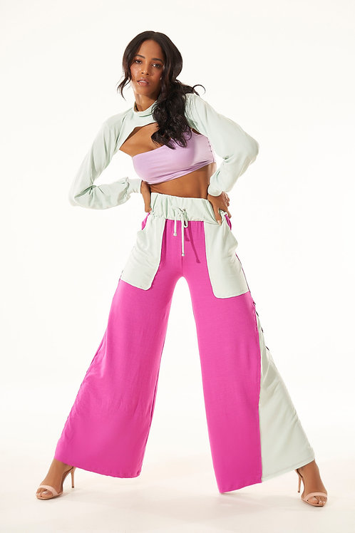 Pantalona Comfy - Fúcsia e Verdinho