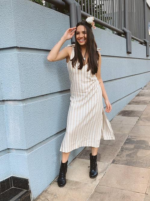Vestido Linho - Listras Bege