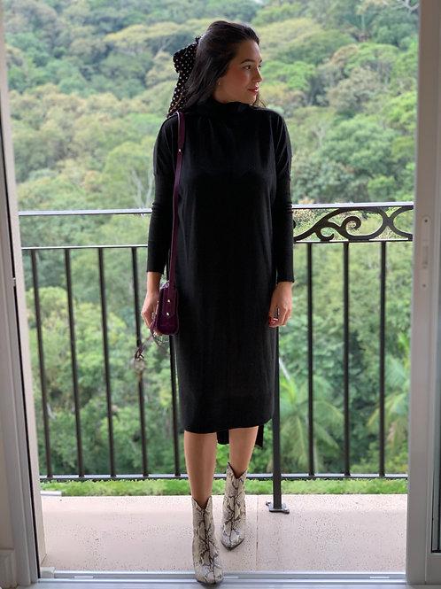 Vestido Maxi Trico - Preto