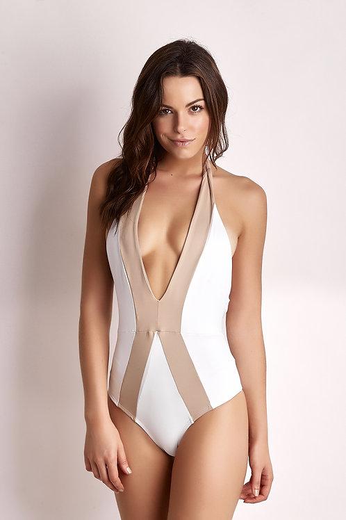 Body Capri - Branco c/ Bege