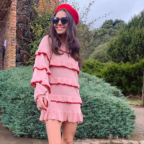 Maxi Tricot Babados - Rosa com Vermelho