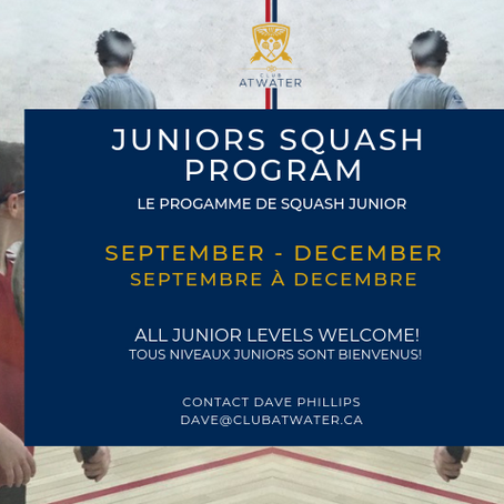 REGISTER NOW! JUNIOR SQUASH PROGRAM 2019