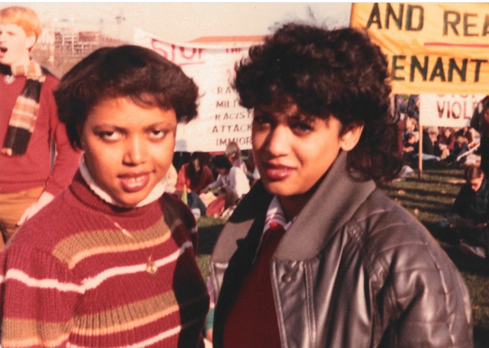 Kamala Harris Montreal protest Maison d'Etude