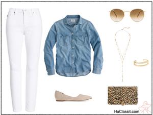 חולצת ג'ינס מכנס לבן נעליים ניוד