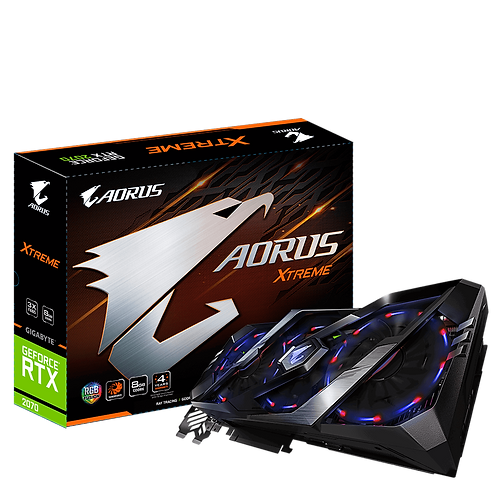 Видеокарта Gigabyte GeForce RTX2070 8GB (GV-N2070AORUS X-8GC), 256Bit
