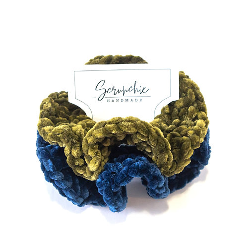 Wavy Crochet Velvet Scrunchies - Set of 2