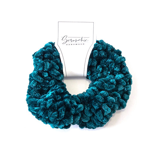 Plushy Velvet Crochet Scrunchie - Deep Teal