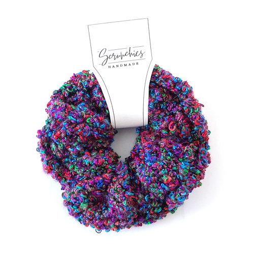 Fluffy Fuzzy Crochet Scrunchie - Jewel Tone Confetti