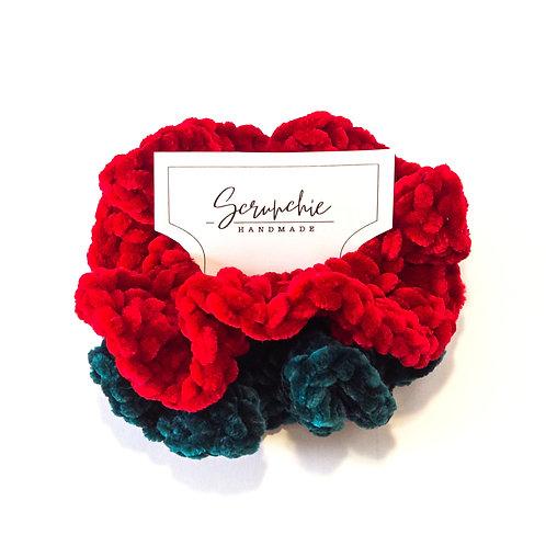 The Holiday Set - Crochet Velvet Scrunchies
