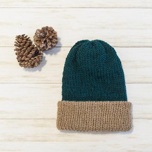 Forest Green Knit Hat Folded Brim