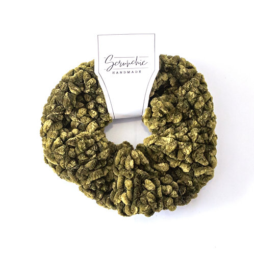 Plushy Velvet Crochet Scrunchie -Olive Green