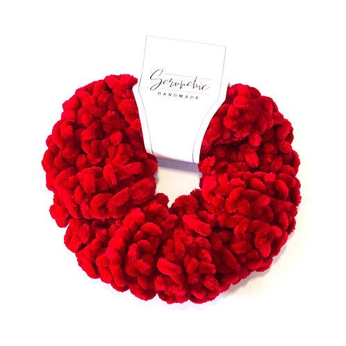 Plushy Velvet Crochet Scrunchie - Crimson