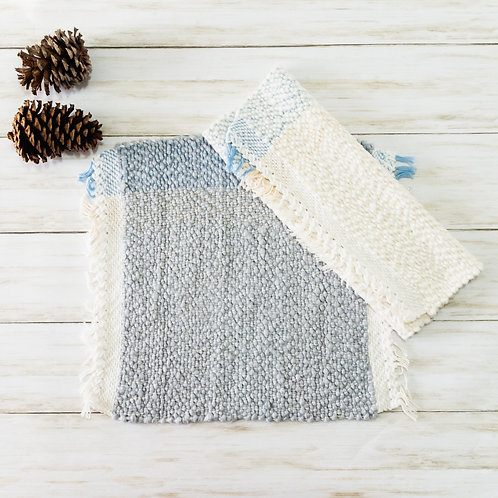 Handwoven Cotton Placemats - Mixed Blue and White