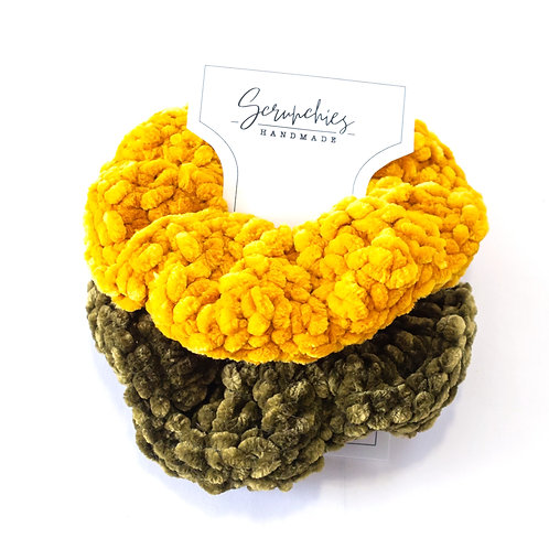 Chunky Velvet Crochet Scrunchie Set -Gold and Olive