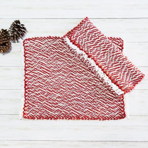 Handwoven Cotton Placemats - Cranberry