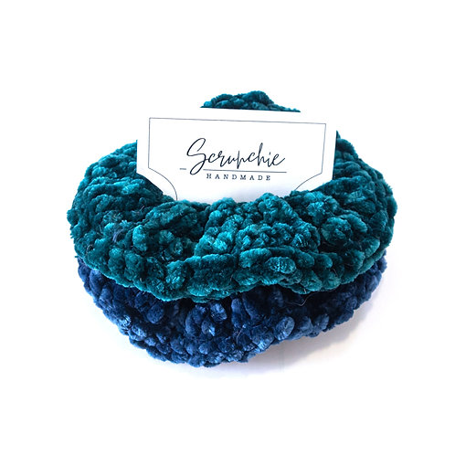 Chunky Velvet Crochet Scrunchie Set - Teal and Navy