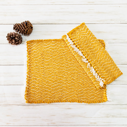 Handwoven Cotton Placemats - Mustard