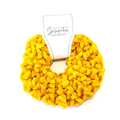 Plushy Velvet Crochet Scrunchie - Goldenrod