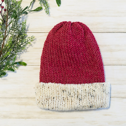 Raspberry and Tweed Knit Hat Folded Brim