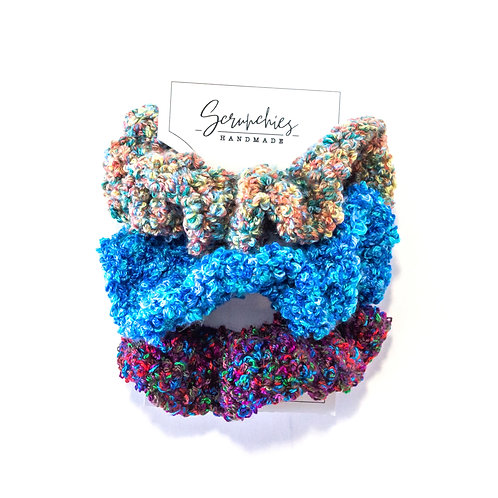Super Wavy Crochet Confetti Scrunchies - Set of 3