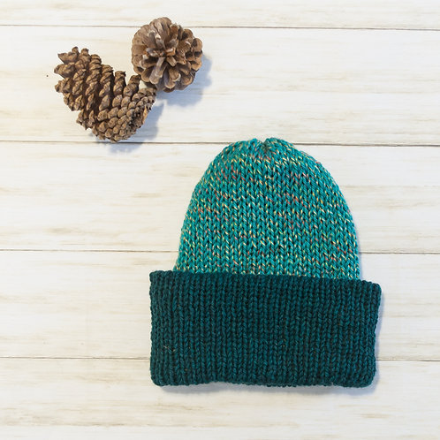 Two-toned green knit hat folded brim