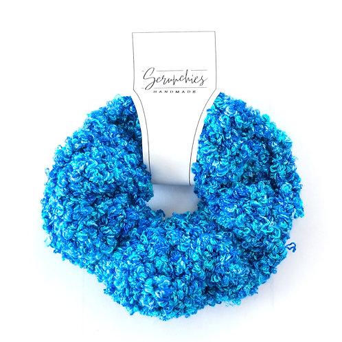 Fluffy Fuzzy Crochet Scrunchie - Bright Blue Confetti