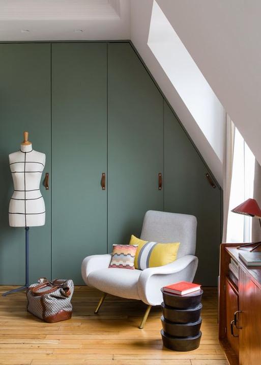 Loft wardrobe against angled ceiling