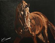 """""""L'Alezan"""" Acrylique complet sur toile de coton 73 x 92 cm"""