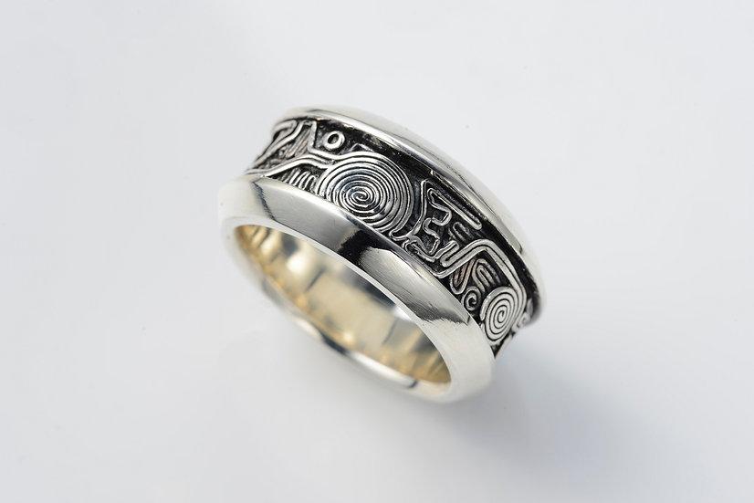 手神縄文 三面 TEGAMI Three-side cut ring