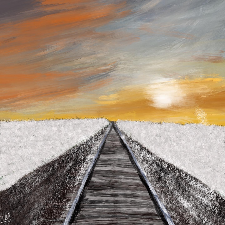Snow on the railroad tracks