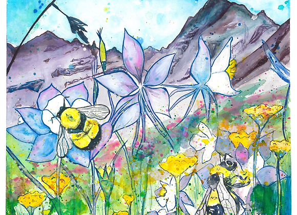 Bumble Bees in Confetti Fields Print on Wood